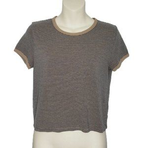 ARITZIA TNA brown striped tee shirt small